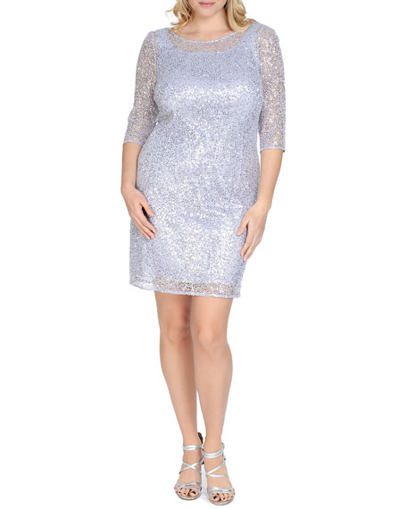 Kay Unger New York 3/4-Sleeve Sequined Sheath Cocktail