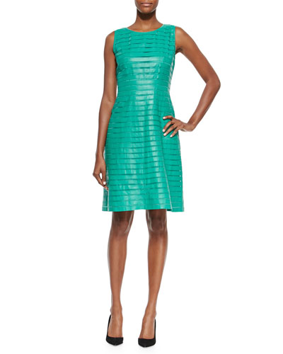 Laurette Paneled Leather Dress
