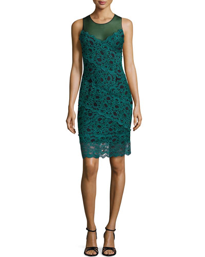Amy Stretch Lace Dress, Dark Teal