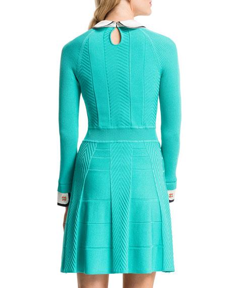 Mixed-Knit Dress w/Collar & Cuffs, Aqua Crush