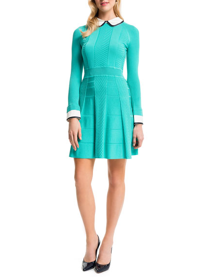Cynthia Steffe Mixed-Knit Dress w/Collar & Cuffs, Aqua