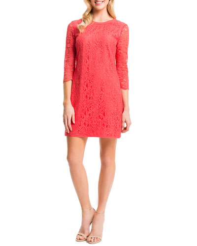 Three-Quarter-Sleeve Lace Shift Dress, Pomegranates
