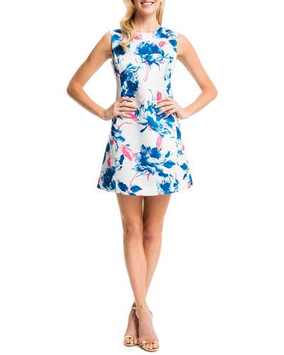 Slim Floral-Print Dress, New Ivory