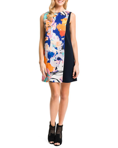 Floral-Solid Sleeveless Shift Dress, New Ivory