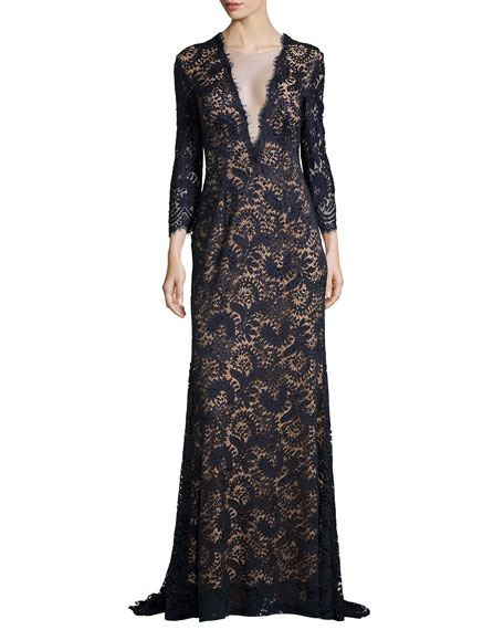 Deep V Illusion Beaded Lace Gown