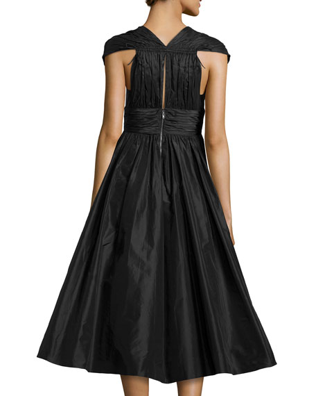 Cap-Sleeve Full-Flare Taffeta Dress