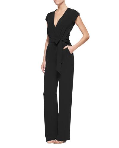 Diane von Furstenberg Purdy Tie-Waist Crepe Jumpsuit. Black