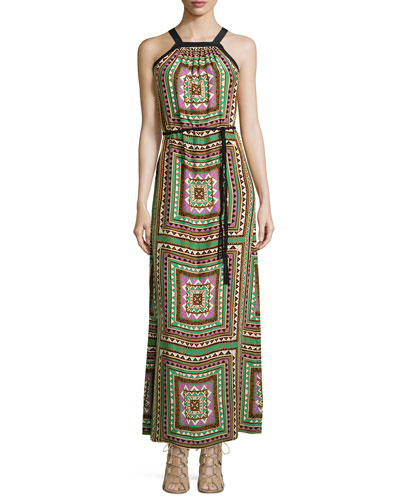 Chelsea Long Geometric-Print Dress
