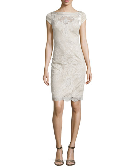 Cap-Sleeve Lace Embroidered Cocktail Dress