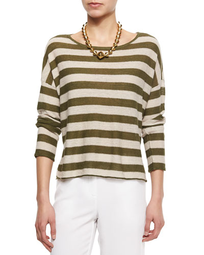 Wide Striped Box Top, Petite
