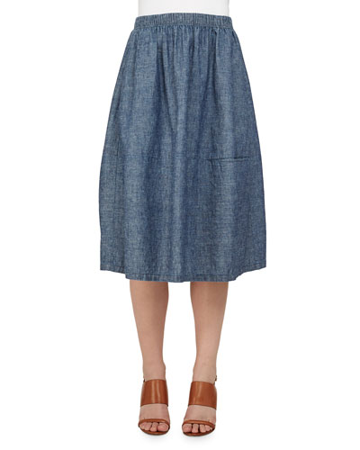 Hemp & Cotton Chambray Skirt, Women's