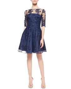 ML Monique Lhuillier 1/2-Sleeve Lace Illusion Cocktail Dress, Navy