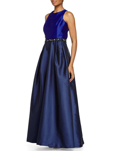 Jewel-Neck Cross-Back Ball Gown