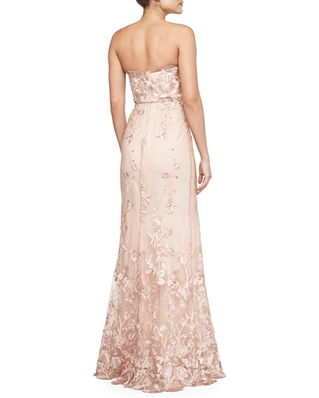 Strapless Floral Applique Gown