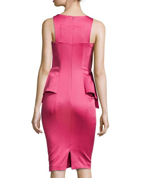 Adonia Sleeveless Satin Peplum Dress