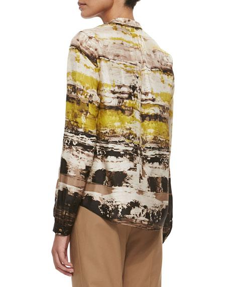 Sharla Long-Sleeve Printed Blouse