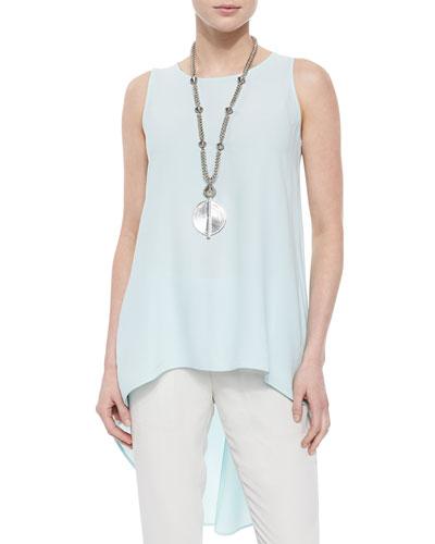 Sleeveless High-Low Silk Crepe Tunic, Women