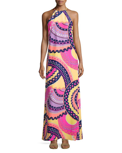 Riviera Printed Silk Long Dress