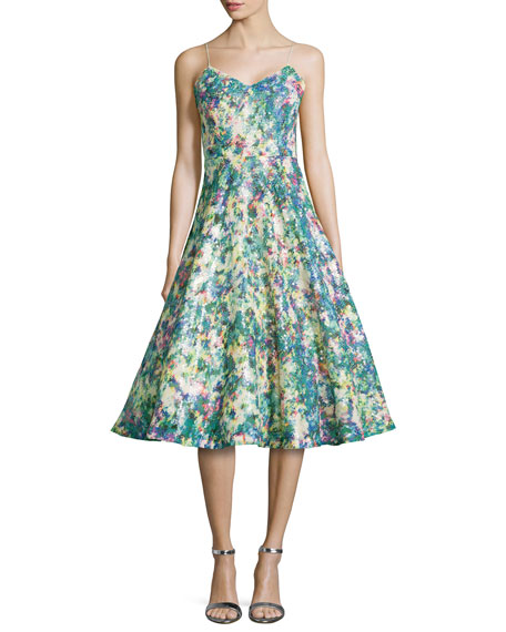 Tracy Reese Sequined Floral-Print Full-Skirt Cocktail Dress