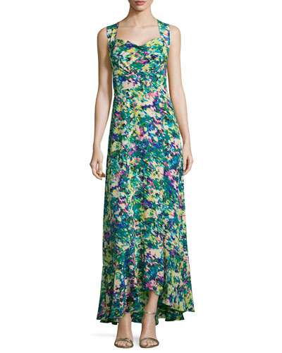 Sleeveless Floral Printed Maxi Dress