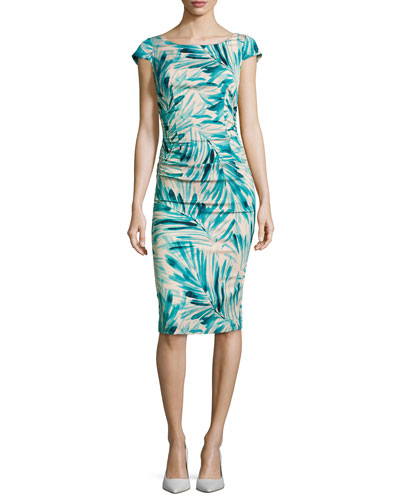 Cap-Sleeve Leaf-Print Sheath with T-Back
