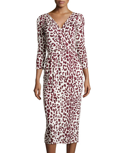 3/4-Sleeve Leopard-Print Dress