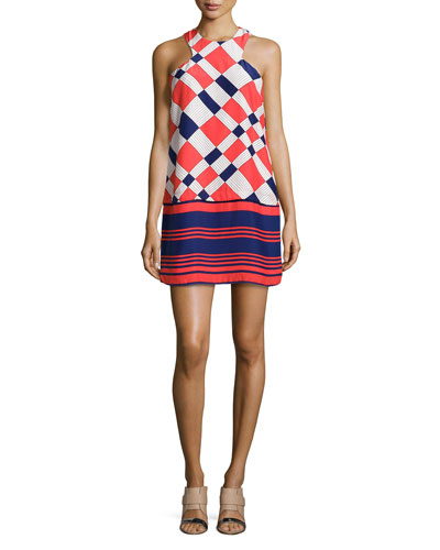 Mia Mixed-Print Silk Sheath Dress