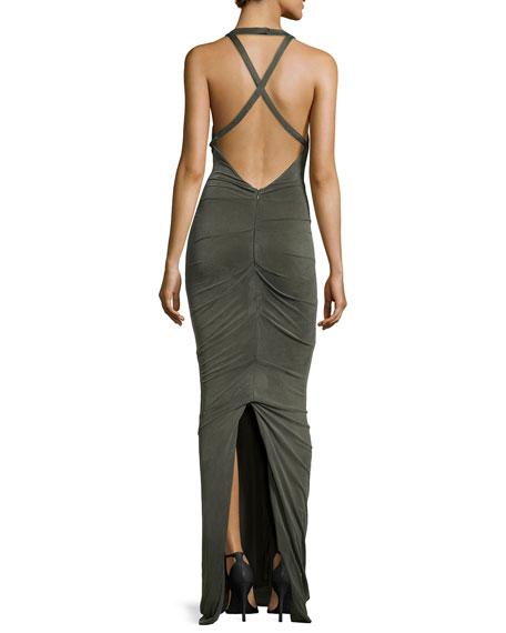 Sleeveless Halter Crisscross Back Gown