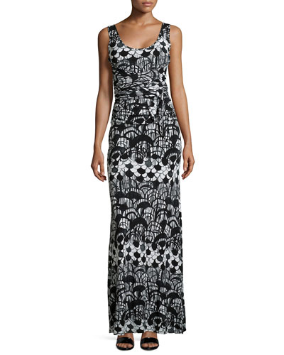Abstract-Print Sleeveless Maxi Dress