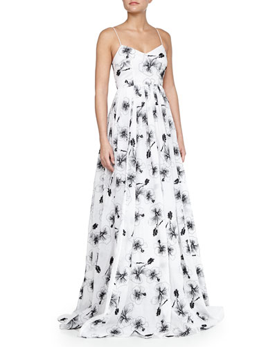 Sleeveless Floral-Print Organza Ball Gown