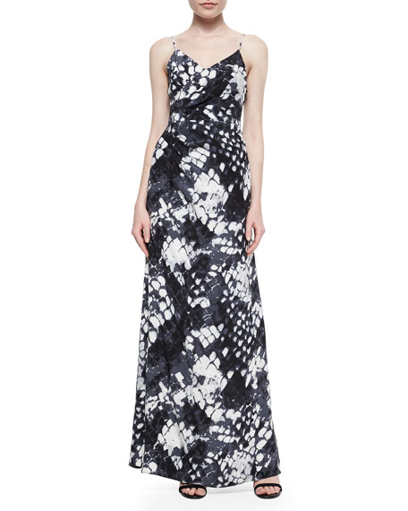 Parker Black Dita Sleeveless Snake-Print Gown