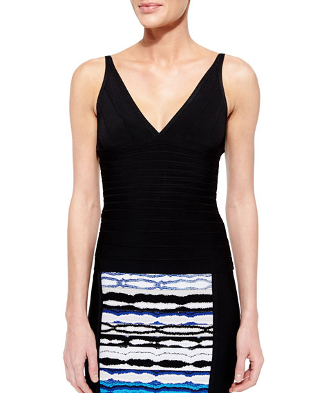 Herve Leger Signature Essential Sleeveless Bandage Top, Black