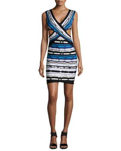 Herve Leger Neina Ripple-Striped Crisscross Dress, Pacific Blue