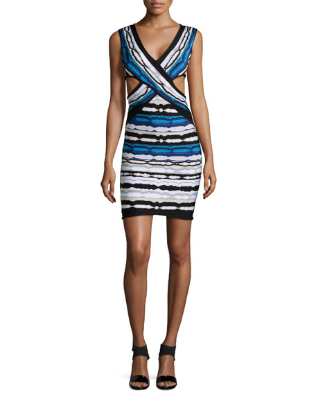 Herve Leger Neina Ripple-Striped Crisscross Dress, Pacific Blue Combo