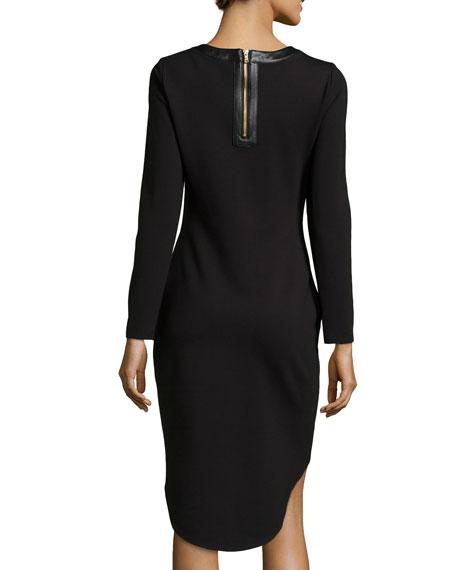 Long-Sleeve Leather-Trim Dress