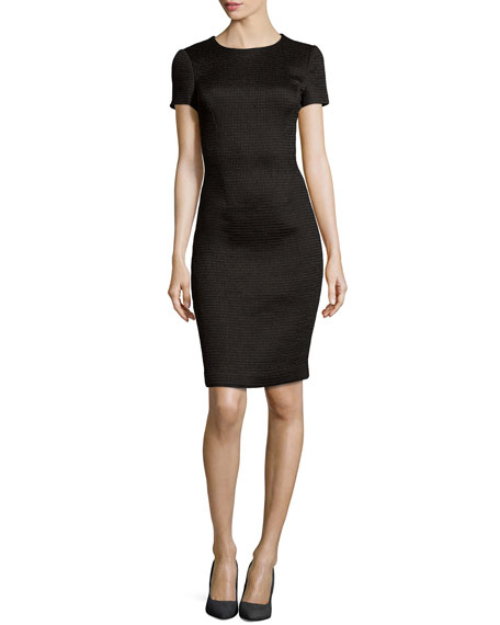Waffle Knit Sheath Day Dress, Black
