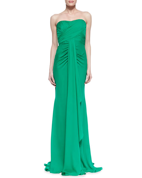Badgley Mischka Strapless Ruched-Bodice Draped Gown, Emerald