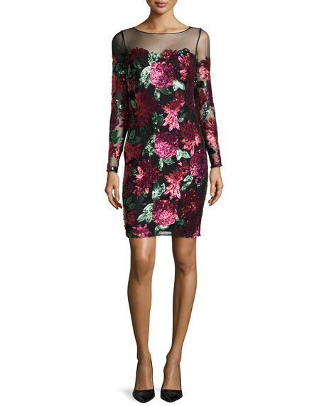 FLORAL SQN COCKTAIL DRESS