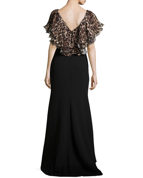 Animal-Print-Sleeve Gown