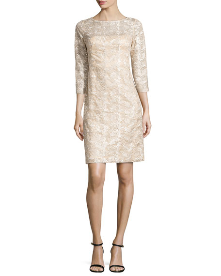 Sue Wong 3/4-Sleeve Embroidered Sheath Dress