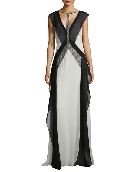 BCBGMAXAZRIA Jenelle Sleeveless Colorblock Gown