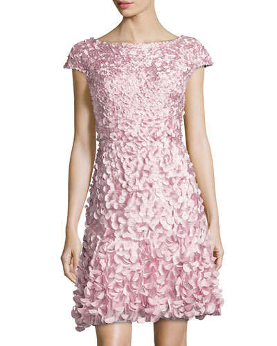 Cap-Sleeve Petal Cocktail Dress