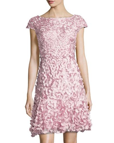 Cap-Sleeve Petal Cocktail Dress