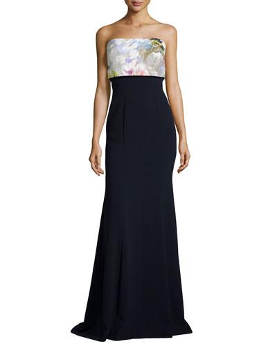 Strapless Flower Pop-Top Gown