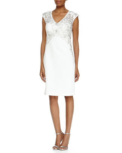 Cap-Sleeve V-Neck Beaded & Embroidered Dress