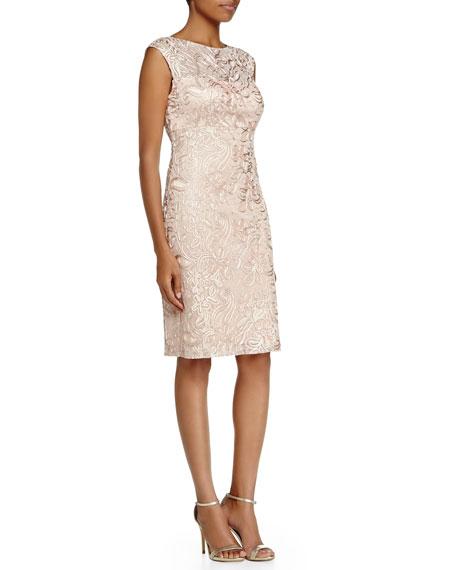 Sue Wong Cap-Sleeve Embroidered Sheath Dress, Blush