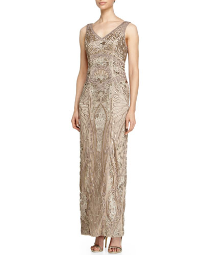 Sleeveless V-Neck Embroidered Column Gown, Taupe