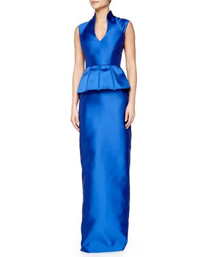 Sleeveless Peplum Column Gown