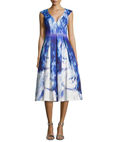 Cap-Sleeve Paintbrush-Print Cocktail Dress
