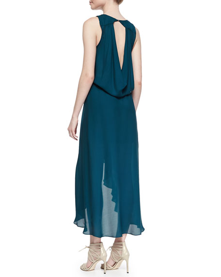 Haute Hippie Cowl-Back Self-Tie Silk Dress